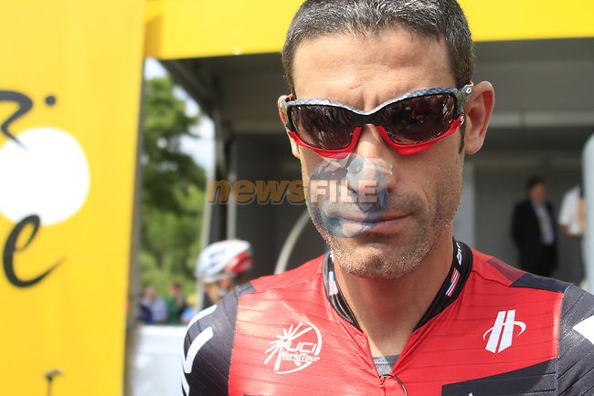 George Hincapie (USA) BMC Racing Team at sign on before the start of Stage 1 of the 99th edition of the Tour de France, running 198km from Liege to Seraing starting in Parc d'Avroy Liege, Belgium. 1st July 2012.<br /> (Photo by Eoin Clarke/NEWSFILE)