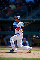 Jacksonville Jumbo Shrimp Rodrigo Vigil (1) at bat during a Southern League game against the Tennessee Smokies on April 29, 2019 at Baseball Grounds of Jacksonville in Jacksonville, Florida.  Tennessee defeated Jacksonville 4-1.  (Mike Janes/Four Seam Images)