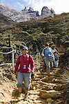 Tourists on the summi trail in cloud forest (2800m). Returning after climbing Mt Kinabalu. Sabah, Borneo.
