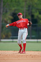 GCL Phillies second baseman Jesus Henriquez (37) throws to first base during a game against the GCL Tigers East on July 25, 2017 at TigerTown in Lakeland, Florida.  GCL Phillies defeated the GCL Tigers East 4-1.  (Mike Janes/Four Seam Images)