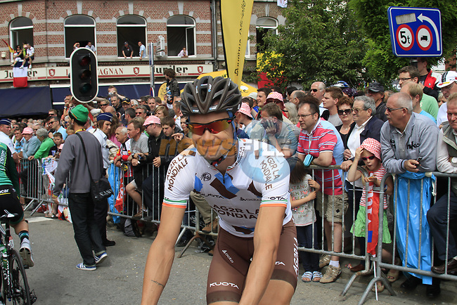 Nicolas Roche (IRL) AG2R La Mondiale arrives at sign on before the start of Stage 2 of the 99th edition of the Tour de France 2012, running 207.5km from Vise to Tournai, Belgium. 2nd July 2012.<br /> (Photo by Eoin Clarke/NEWSFILE)