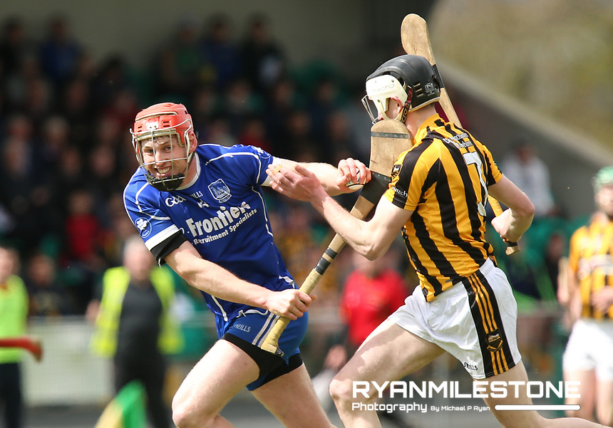 Denis Maher of Thurles Sarsfields in action against Matt Ryan of Upperchurch/Drombane during the Centenary Agri Mid Senior Hurling Championship Quarter Final between Thurles Sarsfields and Upperchurch/Drombane on Saturday 28th April 2018 at Templetuohy, Co Tipperary, Photo By Michael P Ryan