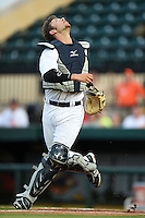 Lakeland Flying Tigers catcher Austin Green (30) looks for a pop up during a game against the Tampa Yankees on April 3, 2014 at Joker Marchant Stadium in Lakeland, Florida.  Tampa defeated Lakeland 4-0.  (Mike Janes/Four Seam Images)