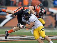 Mike Mohamed of California tackles Will Darkins of Oregon State during the game at Reser Stadium in Corvallis, Oregon on October 30th, 2010.   Oregon State defeated California, 35-7.