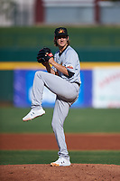 Mesa Solar Sox starting pitcher Daniel Gossett (34), of the Oakland Athletics organization, during an Arizona Fall League game against the Yaquis de Obregon as part of the Mexican Baseball Fiesta on September 29, 2019 at Sloan Park in Mesa, Arizona. Mesa defeated Obregon 7-0. (Zachary Lucy/Four Seam Images)