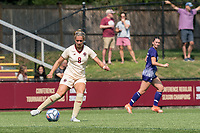 NEWTON, MA - SEPTEMBER 12: Laura Gouvin #8 of Boston College passes the ball during a game between Holy Cross and Boston College at Newton Campus Soccer Field on September 12, 2021 in Newton, Massachusetts.