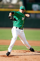 June 26, 2009:  Starting Pitcher Brian Duensing of the Rochester Red Wings delivers a pitch during a game at Frontier Field in Rochester, NY while wearing special green jerseys for Irish night.  The Red Wings are the International League Triple-A affiliate of the Minnesota Twins.  Photo by:  Mike Janes/Four Seam Images