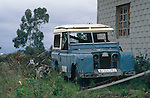Spain 1990. Derelict spanish Land Rover Santana Series 2 88 Hard Top. --- No releases available. Automotive trademarks are the property of the trademark holder, authorization may be needed for some uses. --- Info: From the mid 1950's untill the early 1990's the english Land Rover was also built under license in Spain. The spanish company Metalurgica de Santa Ana (later to become Santana Motor SA), was producing Land Rovers in the beginning from CKD kits, but local content was gradually increased until the Santanas (this is how they were called) were 100 per cent locally manufactured.