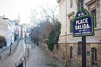 PLACE DALIDA DANS LE 18EME ARRONDISSEMENT MONTMARTRE, LE 17 JANVIER 2017 A PARIS. # SUR LES TRACES DE DALIDA