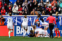 Harrison, NJ - Sunday March 04, 2018: Mallory Pugh celebrates scoring during a 2018 SheBelieves Cup match match between the women's national teams of the United States (USA) and France (FRA) at Red Bull Arena.
