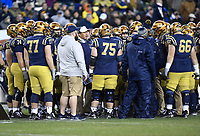 PHILADELPHIA, PA - DEC 14, 2019: Navy Midshipmen head coach Ken Niumatalolo addressees his team during a timeout of game between Army and Navy at Lincoln Financial Field in Philadelphia, PA. The Midshipmen defeated Army 31-7. (Photo by Phil Peters/Media Images International)