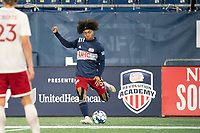 FOXBOROUGH, MA - OCTOBER 16: Isaac Angking #5 of New England Revolution II during a game between North Texas SC and New England Revolution II at Gillette Stadium on October 16, 2020 in Foxborough, Massachusetts.
