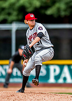 25 July 2017: Tri-City ValleyCats pitcher Tyler Ivey, a 3rd round draft pick for the Houston Astros, on the mound against the Vermont Lake Monsters at Centennial Field in Burlington, Vermont. The Lake Monsters defeated the ValleyCats 11-3 in NY Penn League action. Mandatory Credit: Ed Wolfstein Photo *** RAW (NEF) Image File Available ***