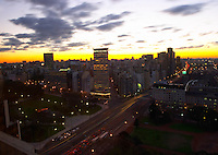 A bird's eye view over the city at sunset. Retiro and Recoleta district. Buenos Aires Argentina, South America