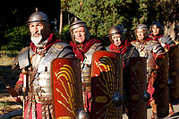 1st and 2nd century BC legionaries of the most famous Roman reenactment group, the Gruppo Storico Romano, during the event 'Piazza Italia' at Colle Oppio Park. Rome (Italy), July 21st 2020<br /> Foto Samantha Zucchi Insidefoto