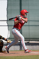 Philadelphia Phillies infielder Andrew Pullin (17) during a minor league spring training game against the Pittsburgh Pirates on March 18, 2014 at the Carpenter Complex in Clearwater, Florida.  (Mike Janes/Four Seam Images)