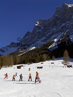 Austria, Tyrol, Ehrwald: ski run with Zugspitze mountain