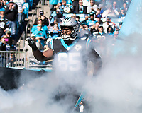 CHARLOTTE, NC - NOVEMBER 3: Dennis Daley #65 of the Carolina Panthers takes the field prior to the game during a game between Tennessee Titans and Carolina Panthers at Bank of America Stadium on November 3, 2019 in Charlotte, North Carolina.