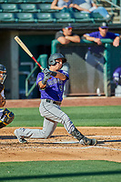 Dom Nunez (5) of the Albuquerque Isotopes bats against the Salt Lake Bees at Smith's Ballpark on April 27, 2019 in Salt Lake City, Utah. The Isotopes defeated the Bees 10-7. This was a makeup game from April 26, 2019 that was cancelled due to rain. (Stephen Smith/Four Seam Images)