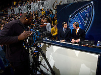Pac-12 reporter Roxy Bernstein talks with California Director of Basketball Operations Jay John during halftime at Haas Pavilion in Berkeley, California on November 13th, 2012.  California defeated Pepperdine, 79-62.