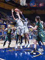 Courtney Range and Reshanda Gray of California tries to rebound against Oregon at Haas Pavilion in Berkeley, California on January 5th, 2014. California defeated Oregon