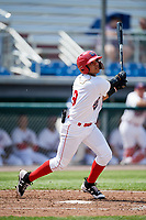 Auburn Doubledays shortstop Jose Sanchez (9) hits a double during a game against the Batavia Muckdogs on June 17, 2018 at Falcon Park in Auburn, New York.  Auburn defeated Batavia 10-8.  (Mike Janes/Four Seam Images)