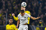 14.02.2020, Signal Iduna Park, Dortmund, GER, 1. BL, Borussia Dortmund vs Eintracht Frankfurt, DFL regulations prohibit any use of photographs as image sequences and/or quasi-video<br /> <br /> im Bild / picture shows / Kopfball / Kopfballduell Mats Hummels (#15, Borussia Dortmund) Timothy Chandler (#22, Eintracht Frankfurt) <br /> <br /> Foto © nordphoto/Mauelshagen