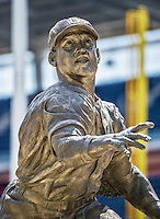 20 May 2014: A bronze statue of former Washington Homestead Grays, and Hall of Fame catcher Josh Gibson is on display at Nationals Park in Washington, DC. Sculpted by artist Omri Amrany, the work was commissioned by the DC Creates Public Art Program in 2009. Mandatory Credit: Ed Wolfstein Photo *** RAW (NEF) Image File Available ***