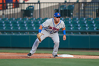 St. Lucie Mets first baseman Jeremy Vasquez (16) during a Florida State League game against the Lakeland Flying Tigers on April 24, 2019 at Publix Field at Joker Marchant Stadium in Lakeland, Florida.  Lakeland defeated St. Lucie 10-4.  (Mike Janes/Four Seam Images)