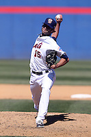 Binghamton Mets pitcher Erik Turgeon #15 delivers a pitch during a game against the Akron Aeros at NYSEG Stadium on April 7, 2012 in Binghamton, New York.  Binghamton defeated Akron 2-1.  (Mike Janes/Four Seam Images)