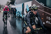 overall race leader Simon Yates (GBR/Michelton-Scott) on his way to the race start on the Promenade des Anglais in torrential rained down Nice (and next to the Mediterranean Sea)<br /> <br /> 76th Paris-Nice 2018<br /> Stage 8: Nice > Nice (110km)