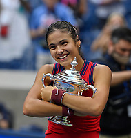 11th September 2021: Billie Jean King Tennis Centre, New York, USA;  US Open Tennis, womens singles final. Emma Raducanu (GBR) with her trophy as she beats Canada's Leylah Fernandez in 2 sets to win the title.