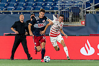 FOXBOROUGH, MA - AUGUST 21: Jonathan Bolanos #17 of Richmond Kickers on the attack as Collin Verfurth #35 of New England Revolution II closely defends during a game between Richmond Kickers and New England Revolution II at Gillette Stadium on August 21, 2020 in Foxborough, Massachusetts.