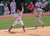 7 August 2016: Washington Nationals infielder Daniel Murphy makes a play at first during game action against the San Francisco Giants at Nationals Park in Washington, DC. The Nationals shut out the Giants 1-0 to take the rubber match of their 3-game series. Mandatory Credit: Ed Wolfstein Photo *** RAW (NEF) Image File Available ***
