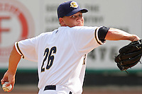 Charleston Riverdogs pitcher Josh Romanski #26 warming up in the bullpen before a game vs. the Rome Braves at Joseph P. Riley Jr. Ballpark in Charleston, South Carolina on June 6, 2010. Charleston defeated Rome by the score of 4-2.  Photo By Robert Gurganus/Four Seam Images