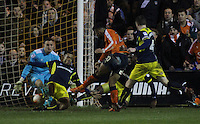 Isaac Vassell of Luton Town scores their first goal during the The Checkatrade Trophy Semi Final match between Luton Town and Oxford United at Kenilworth Road, Luton, England on 1 March 2017. Photo by Stewart  Wright  / PRiME Media Images.