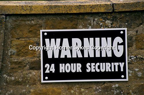 DIANA MEMORIAL, ALTHORP GREAT BRINGTON, NORTHANTS WARNING 24 HOUR SECURITY SIGN,