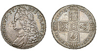 BNPS.co.uk (01202) 558833<br /> Pic: DNW/BNPS<br /> <br /> Pictured: A George II Crown sold $2,230.<br /> <br /> A remarkable single-owner collection of over 200 historic British coins spanning eight monarchs has sold for a staggering £353,000.<br /> <br /> Ian Sawden amassed an array of coinage from the Georgian, Victorian and Edwardian periods, with the latest examples struck during George VI's reign.<br /> <br /> A 1797 Cartwheel proof gold penny from George III's reign, decorated with a laureate bust wearing a wreath with 10 leaves, fetched £24,800.<br /> <br /> A 1788 gold halfpenny depicting Britannia seated with a spear achieved £27,280, while a 1799 gold halfpenny went for £23,560 and a 1848 Proof Florin coin from Victoria's reign sold for £16,120.