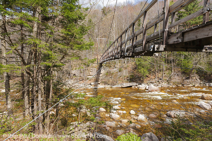 180-foot-long suspension bridge along the Wilderness Trail in the Pemigewasset Wilderness, New Hampshire. It spanned the East Branch of the Pemigewasset River just above the East Branch & Lincoln Railroad's old trestle No. 17. Built in 1959-1960, the footbridge was dismantled in 2009 because of safety issues.