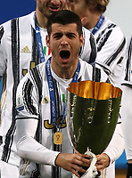 Football: Super Cup Final Juventus vs Napoli at Mapei Stadium in Reggio Emilia, on January 20,  2021.<br /> Juventus' Alvaro Morata ceelbrates with the trophy after winning 2-0  the Italian Super Cup Final match between Juventus and Napoli at Mapei Stadium in Reggio Emilia, on January 20,  2021.<br /> UPDATE IMAGES PRESS/Isabella Bonotto