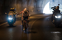 polka dot Thomas De Gendt (BEL/Lotto-Soudal) into the dark<br /> <br /> Stage 7: Nice to Col de Turini (181km)<br /> 77th Paris - Nice 2019 (2.UWT)<br /> <br /> ©kramon