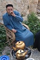 Kabaw, Libya - Libyan Drinking Tea, Wearing Tunisian Chechia (Hat)