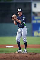 Vermont Lake Monsters pitcher Heath Bowers (29) gets ready to deliver a pitch during a game against the Batavia Muckdogs August 9, 2015 at Dwyer Stadium in Batavia, New York.  Vermont defeated Batavia 11-5.  (Mike Janes/Four Seam Images)