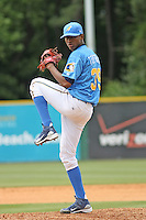 Pitcher Julio Teheran #39 of the Myrtle Beach Pelicans pitching during a game against the Lynchburg Hillcats on May 26, 2010 at BB&T Coastal Field in Myrtle Beach, SC.