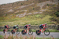 Team BMC<br /> <br /> Time Trial through the magnificent Lake District National Park in Cumbria<br /> <br /> Stage 5 (TTT): Cockermouth to Whinlatter Pass (14km)<br /> 15th Ovo Energy Tour of Britain 2018