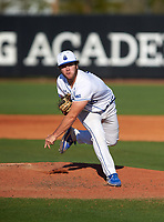 IMG Academy Ascenders pitcher Jack Fortin (19) during a game against the Victory Charter School Knights on February 28, 2020 at IMG Academy in Bradenton, Florida.  (Mike Janes/Four Seam Images)