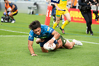 14th March 2021; Eden Park, Auckland, New Zealand;  Blues winger Caleb Clarke scores a try - during the Super Rugby Aotearoa rugby match between the Blues and the Highlanders held at Eden Park, Auckland, New Zealand.