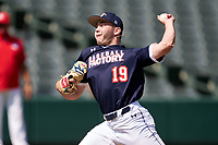 Pitcher Carter Holton (19) during the Baseball Factory All-Star Classic at Dr. Pepper Ballpark on October 4, 2020 in Frisco, Texas.  Pitcher Carter Holton (19), a resident of Guyton, Georgia, attends Benedictine Military Academy.  (Ken Murphy/Four Seam Images)