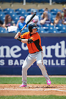 Frederick Keys center fielder Austin Hays (18) at bat during the first game of a doubleheader against the Wilmington Blue Rocks on May 14, 2017 at Daniel S. Frawley Stadium in Wilmington, Delaware.  Wilmington defeated Frederick 10-2.  (Mike Janes/Four Seam Images)