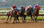 DEL MAR, CA  JULY 31: #8 Dr. Schivel, ridden by Flavien Prat, #7 Eight Rings, ridden by Abel Cedillo, #3 CZ Rocket, ridden by Florent Geroux, and #4 Law Abidin Citizen, ridden by Kyle Frey, in the stretch of the Bing Crosby Stakes (Grade l) Breeders Cup Win and You're In Sprint Division on July 31, 2021 at Del Mar Thoroughbred Club in Del Mar, CA. (Photo by Casey Phillips/Eclipse lSportswire/CSM)